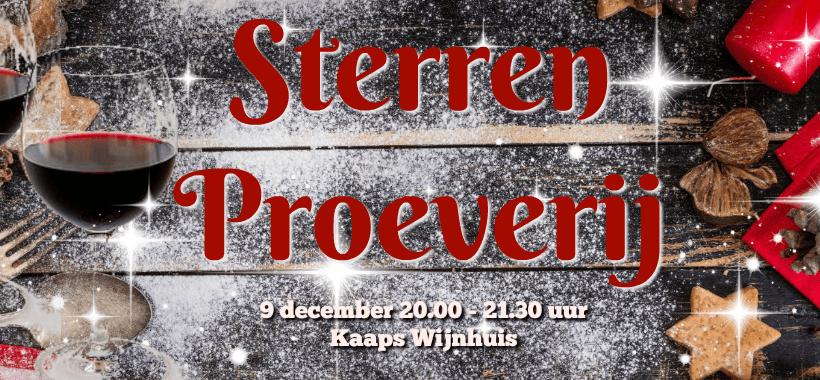 Sterren Wijnproeverij Kaaps Wijnhuis 9 december 20.00 uur