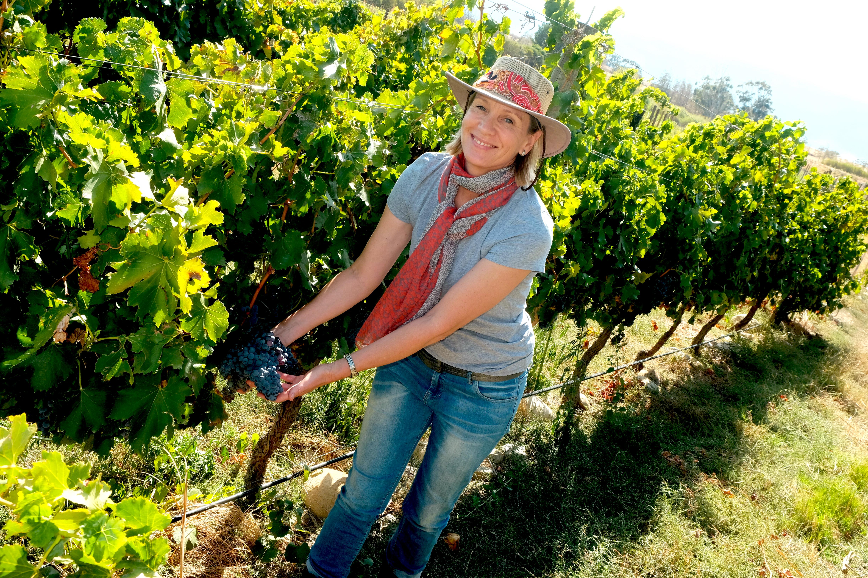 Lemberg wijngaard met Suzette van Rensburg