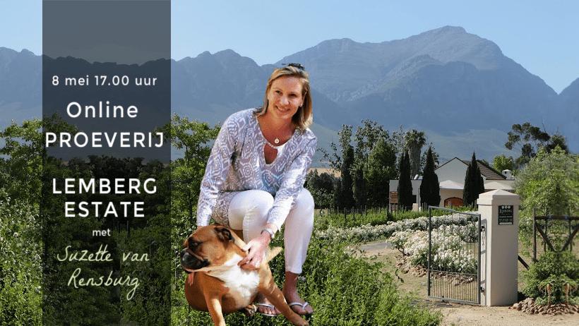 Online wijnproeverij Lemberg Wine Estate op 8 mei met Susette van Rensburg